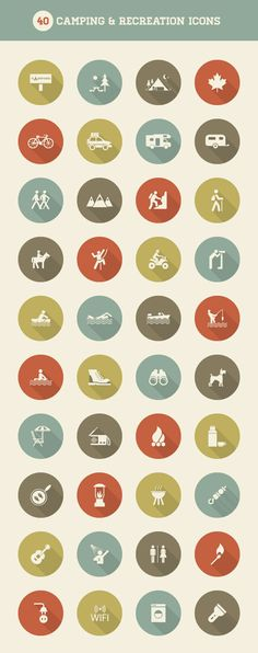 Free Vector Graphics: Camping and Recreation Icon Set from Vecteezy – PSD Vault – Silvia Lauterbach – Design Web Design, Icon Design, Logo Design, Flat Design, Icons Web, Flat Icons, Camping Icons, Digital Art Tutorial, Photoshop