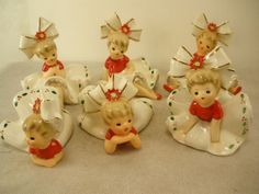 INARCO SET OF 6 VINTAGE CHRISTMAS BIG BOW BLOOMER GIRLS with STICKERS E-1265