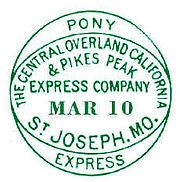 Pomy Express compound oval - Pony Express - Wikipedia, the free encyclopedia Michael Doyle, Cyber Forensics, St Joseph Mo, Pony Express, Joe Cocker, Old West, Stamp Collecting, Postage Stamps, American History