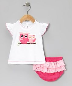 Look what I found on #zulily! Hot Pink Owl Tee & Ruffle Diaper Cover - Infant #zulilyfinds