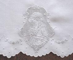 Em's Heart Antique Linens -Antique Embroidered Appenzell Linen Towels