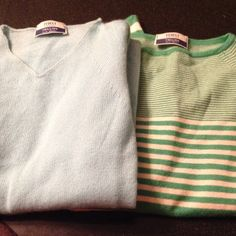 FEDELI cashmere sweater lot. Trillion Palm beach two 100% cashmere sweater. Light weight for the spring. Aqua blue size 44. Made in Italy. Kelly green stripes. Size 42 . FEDELI  Sweaters