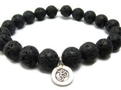 Mens Om Lava Rock Bracelet - Harmony Strength- Yoga Bracelets