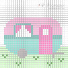 The pixel pattern caravan on meadow is a free template for a caravan. The pixel pattern caravan on meadow is a free template for a caravan on meadow as pixel patt Tiny Cross Stitch, Cross Stitch Pillow, Cross Stitch Borders, Cross Stitch Charts, Cross Stitch Designs, Cross Stitching, Cross Stitch Embroidery, Cross Stitch Patterns, Melty Bead Patterns
