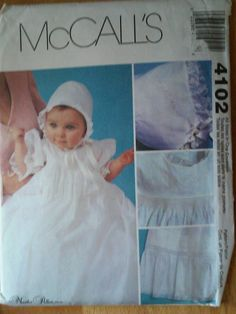 Christening Gown, Slip And Bonnet. Infants Small to X Large All Sizes Included. McCall's Sewing Pattern 4102. UNCUT. Dated 2003. - pinned by pin4etsy.com