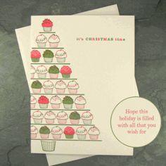 snow & graham christmas cupcakes boxed letterpress...