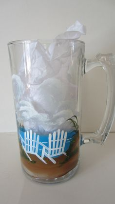 LARGE HAND PAINTED BEER MUG .... BEACH SCENE...    This beer mug will be great at a summer party. This heavy mug is 7 in. tall , 3.5 in. in