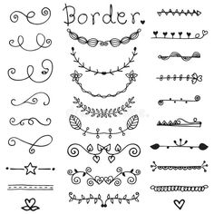 Cute of doodle border vector in black line stock vector - illustration of greeting, e . - Cute of doodle border vector in black line stock vector – illustration of greeting, invitation: 1 - Doodle Drawings, Easy Drawings, Doodle Art, Zen Doodle, Bullet Journal Banner, Bullet Journal Inspiration, Doodle Lettering, Hand Lettering, Doodle Borders