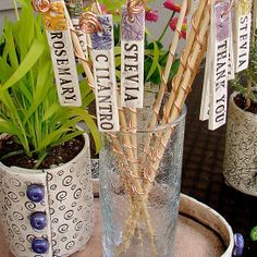 Ceramic Plant Marker with Bamboo and Copper Wire - For Your Flower and Herb Pots - Set of 5 from playfularts
