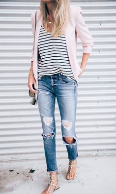 Spring style,boyfriend jeans, casual outfit , pink blazer. See more at www. HerStyledView.com