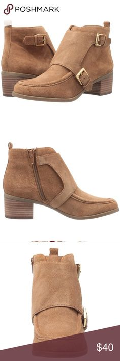 """SALE 💕 NWT Genuine Suede Anne Klein Ankle Boot Brand New With Tags, Genuine Suede Ann Klein Jeffry Ankle Boot in Natural. Detailed bootie with monk strap and stitch detail. *Leather Imported Synthetic sole -Shaft measures approximately 4.5"""" from arch -Heel measures approximately 1.5"""" -Platform measures approximately 0.25 inches -Boot opening measures approximately 10"""" around -Anne Klein iflex technology allows for a flexible fit that can bend up to 90 degrees -Hair calf plug Tonal hardware…"""