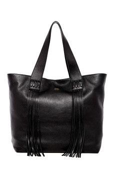 Vince Camuto - Valri Leather Fringe Tote Shopper Bag 2256e4897d150