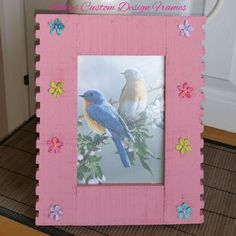 ♥♥ Custom Designed Solid Acacia Baby Pink Dovetail Flower Photo Frame ♥♥