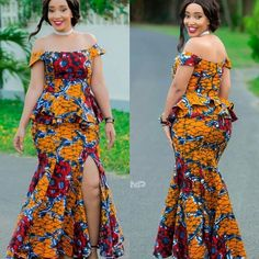 Classy picture collection of Beautiful Ankara Skirt And Blouse Styles These are the most beautiful ankara skirt and blouse trending at the moment. If you must rock anything ankara skirt and blouse styles and design. Ankara Long Gown Styles, Trendy Ankara Styles, Latest African Fashion Dresses, African Dresses For Women, African Print Dresses, African Print Fashion, African Attire, Africa Fashion, Ankara Gowns