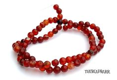 """Natural Red Carnelian Agate gemstone bead strand 5mm round semi-precious gems 15"""" strand Jewelry making, Jewelry Supply, Beading supplies by TheBeadBarr on Etsy"""