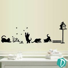 Playing Cats Butterfly Grass Vinyl Wall Stickers, Wall Decals, Wall Art Graphics