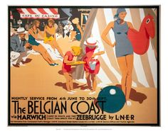 The Belgian Coast LNER via Harwich Two kids playing in the sand