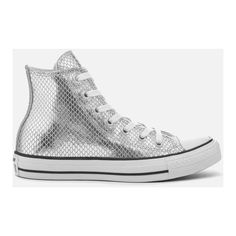 Converse Women's Chuck Taylor All Star Hi-Top Trainers -... ($50) ❤ liked on Polyvore featuring shoes, sneakers, silver, lace up sneakers, high-top sneakers, metallic silver sneakers, silver high top sneakers and high top shoes