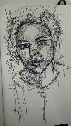 Self-portrait, pen sketch on paper