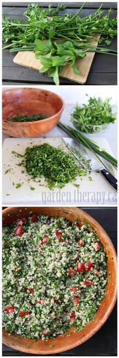 Use a bounty of fresh garden herbs (parsley, mint, and spring onions) to make this fresh quinoa tabouli recipe.