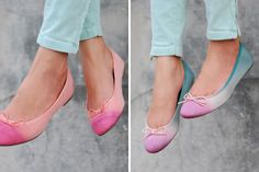 33 Stylish DIY Shoe Hacks via Brit + Co. - Dip dye ombre ballet flats - Especially love the blue/ pink combination!