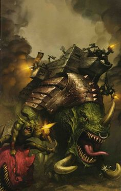 Amongst the largest of all Squigs, the Squiggoth is a massive quadrupedal beast (although it ranges in size from that of a main Battle tank to that of a Titan) kept by Feral Orks. Orks 40k, Here Be Dragons, Warhammer 40k Art, Game Workshop, Sci Fi Books, Battle Tank, The Grim, Space Marine, Fantasy Artwork