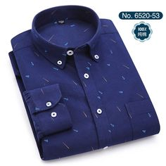 New 2018 Print Oxford Cotton Turn Down Collar Long Sleeve Non-iron Comfortable Slim Fit Mens Casual Shirts S To Size Casual Shirts For Men, Men Casual, Shirt Collar Styles, Streetwear Summer, Spandex Material, High Collar, Printed Shirts, Long Sleeve Shirts, Street Wear