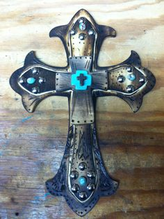 Rustic CROSS with silver and turquoise detail by SVMwesterndecor, $20.00
