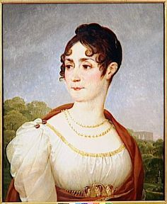 1796 Josephine by Baron Jean-Antoine Gros (Châteaux de Malmaison et Bois-Préau, Malmaison France)  This Gros portrait shows the woman Napoleon fell for in 1796 in plain republican dress. Cameos were fashionable at this time, as shown. Her gauzy sleeves preview a style that came back in the 1820s and 30s.