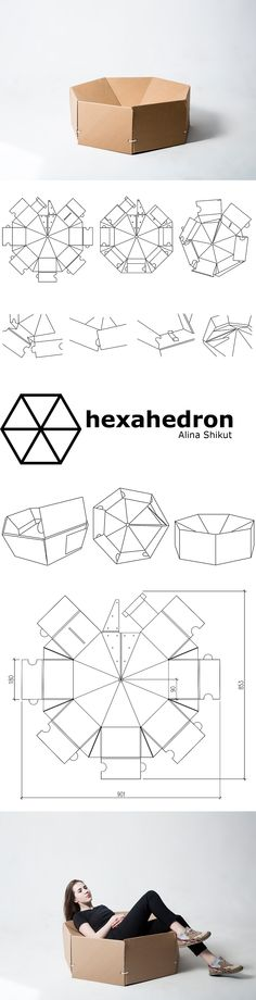 Cardboard chair hexahedron by Alina Shikut made with milling machine Curator…