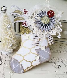 Shabby, sweet stocking - Melissa Phillips using Sizzix and Teresa Collins Tinsel & Company