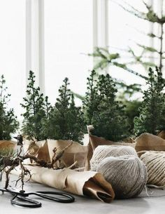 Adorable DIY mini Christmas trees wrapped in brown kraft paper. From the lovely Norwegian home of Per Olav Slvberg decorated for Christmas. Love this minimalist, rustic, organic style!