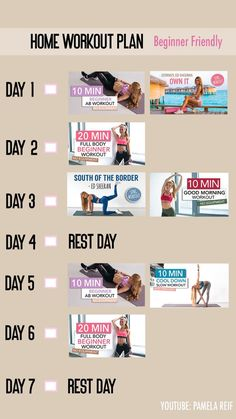 Here's a home workout plan by Pamela Reif for beginners 5 Day Workout Plan, 10 Min Workout, Weekly Workout Plans, Workout Songs, Workout Schedule, Weekly Workouts, Workout Calendar, Workout Days, Beginner Full Body Workout