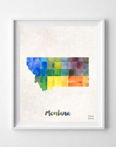 Montana Watercolor Map Print