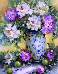 The Sisterhood Peonies and Limes and North Texas Workshop Adventures - Flower Paintings by Nancy Medina, painting by artist Nancy Medina