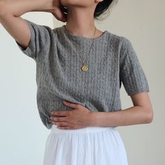 Vintage gray merino wool cashmere angora blend cable knit short sleeves