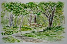 Quick Study in Watercolor of Path with Bridge. You can read the details at my Blog http://artistadron.blogspot.com/2012/06/watercolor-painting-forest-path-and.html