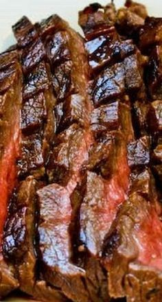 Marinated and Grilled Flank Steak - Kalyn's Kitchen - Marinated Flank Steak Recipe (London Broil) Flank Steak Recipes, Marinated Flank Steak, Salisbury Steak Recipes, Grilling Recipes, Meat Recipes, Cooking Recipes, Game Recipes, Grilling Ideas, Carne Asada
