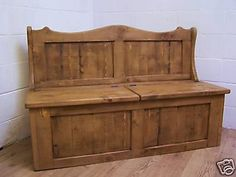 370GBP H39''xW50xD19 50-TWIN-SEAT-MONKS-SETTLE-STORAGE-BENCH-IN-OLD-WOOD-PINE-WE-CAN-MAKE-ANY-SIZE
