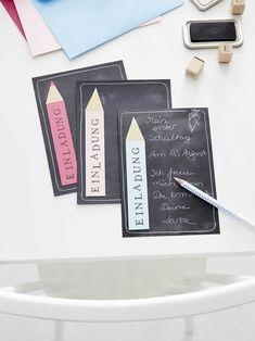 tesa trendpapier 16 / Idee 1: Einladungskarte / Aufmacher I School, First Day Of School, Back To School, Abc Party, Grandma And Grandpa, Diy For Kids, Birthday Invitations, Event Planning, Best Gifts