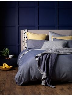 Relaxed Denim in navy! add a splash of yellow into the mix to brighten up your bedroom. They mix and match perfectly.