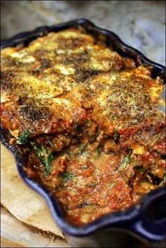 Aubergine gratin in lasagna with parmesan, ricotta and spinach ~ Happy pa . Healthy Dinners For Two, Healthy Eating Tips, Batch Cooking, Cooking Recipes, Vegetarian Recipes, Healthy Recipes, Crusted Chicken, Eggplant Recipes, Best Dinner Recipes