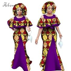African dresses for women with scarf wax fabric print banque formal plus big size maxi african clothing dashiki ankara dress African Dresses For Women, African Attire, African Wear, African Women, African Outfits, African Clothes, African Fashion Designers, African Men Fashion, Africa Fashion