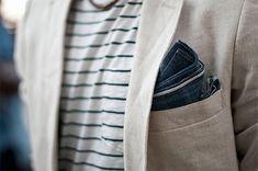 Stripes w/ salvaged pocket square in linen blazer