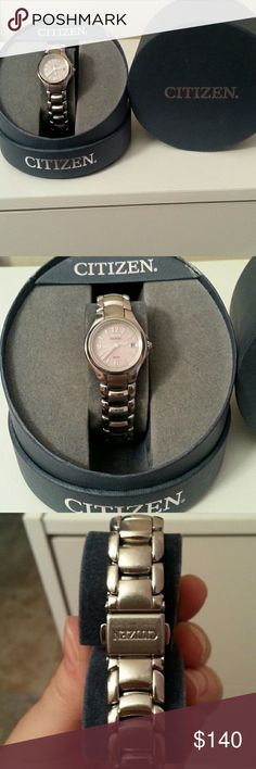 Women's Watch Pink dial. Glow in the dark hands. Eco drive. Date indicator. Stainless steel. Citizen Accessories Watches