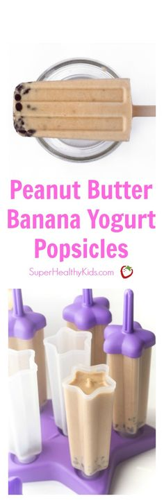 Peanut Butter Banana Yogurt Popsicles are a healthy way to cool down this summer! Rich, creamy and the perfect healthy treat for your sweet tooth! http://www.superhealthykids.com/peanut-butter-banana-yogurt-popsicles/