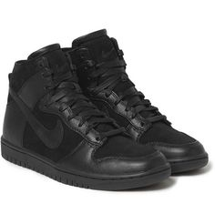 NikeTZ Dunk Faux-Shearling Lined Leather Sneakers