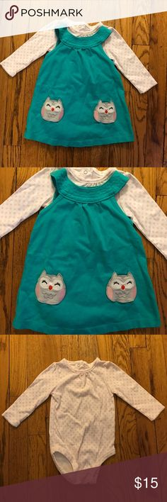 💕SALE💕 WORN ONCE Teal Owl Dress and Top WORN ONCE Teal Owl Dress and Top - mint Condition as only worn once for two hours. Adorable teal owl dress with matching white and light pink Polka Dot long sleeve Onesie. Little owl design is actual mini pockets. Snap button closure on neck of both pieces as well as on bottom of Onesie. Size 9 months. Smoke free pet free home. Carter's Dresses Casual