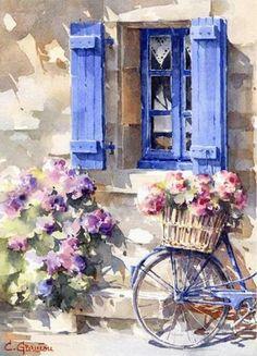 La Bicyclette Bleue by Christian Graniou #watercolorarts