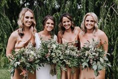 Foliage bouquets made with stunning Australian Native gums and flowering foliages. Photo by: Bridemaid Bouquet, Bride Bouquets, Squad, Our Wedding, Dream Wedding, Wedding Inspiration, Wedding Ideas, Bridesmaid Dresses, Wedding Dresses